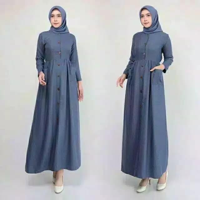 Foto Produk Gamis Muslim wanita Long Dress Madina ZS - Navy dari ziggyshopp