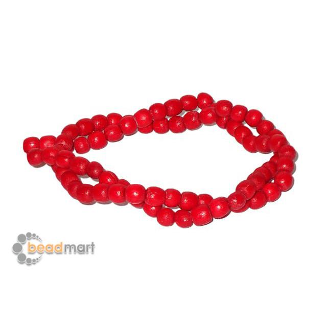 Foto Produk Manik Kayu Bulat 4/5mm, 1 Renteng, Bahan Aksesoris - Red dari Beadmart