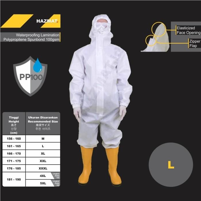 Foto Produk APD Medis Baju HAZMAT.id Suit PPE Coverall Spunbond 100gsm L dari WWW.SERAGAM.ID