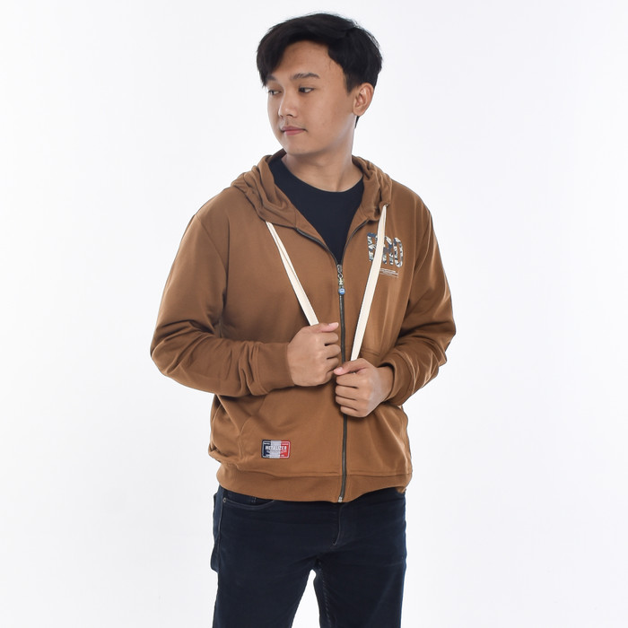 Foto Produk METALIZER 1202 Sweater Hoodie Baju Pria Jaket Cowok Babyterry Premium - Cokelat, M dari teetimeid