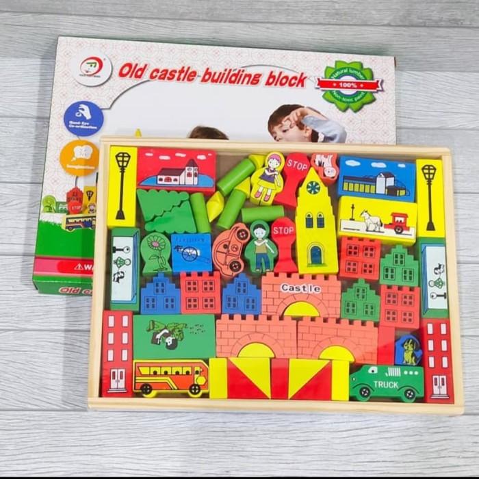 Foto Produk Mainan anak wooden Puzzle block bangunan kastil/Old Castle bolck dari AUTO KID II
