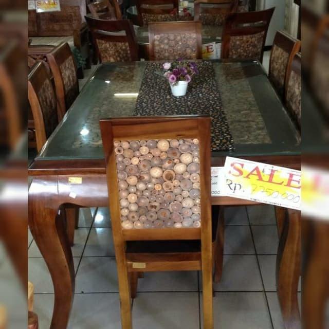 Jual Meja Makan Koin Inul 100x160 Kayu Trembesi Kota Tangerang Selatan Rumahmeubel Serpong Tokopedia