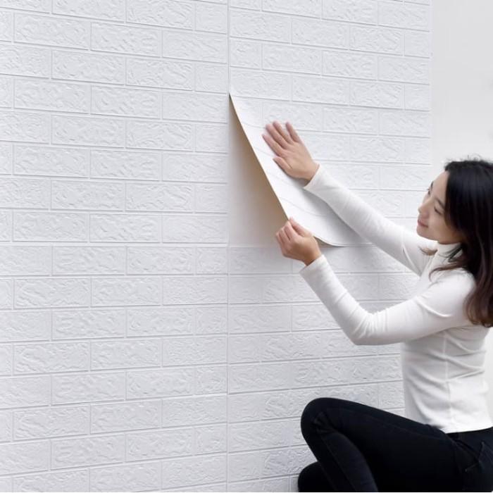 Jual Wallpaper 3D Modern Foam Batu Bata Ukuran 70x77cm