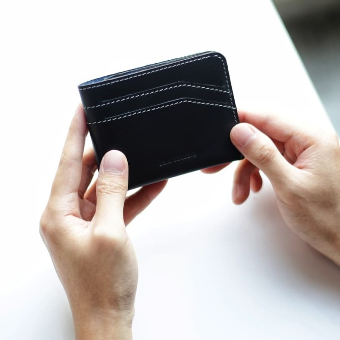 Foto Produk Preghiero Snap Cardholder/Slim Wallet Genuine Leather - Hitam dari Preghiero Official