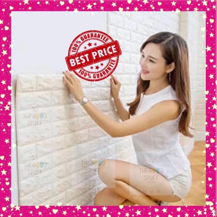 Jual Stiker Wallpaper Dinding 3D Embosed Model Bata Putih