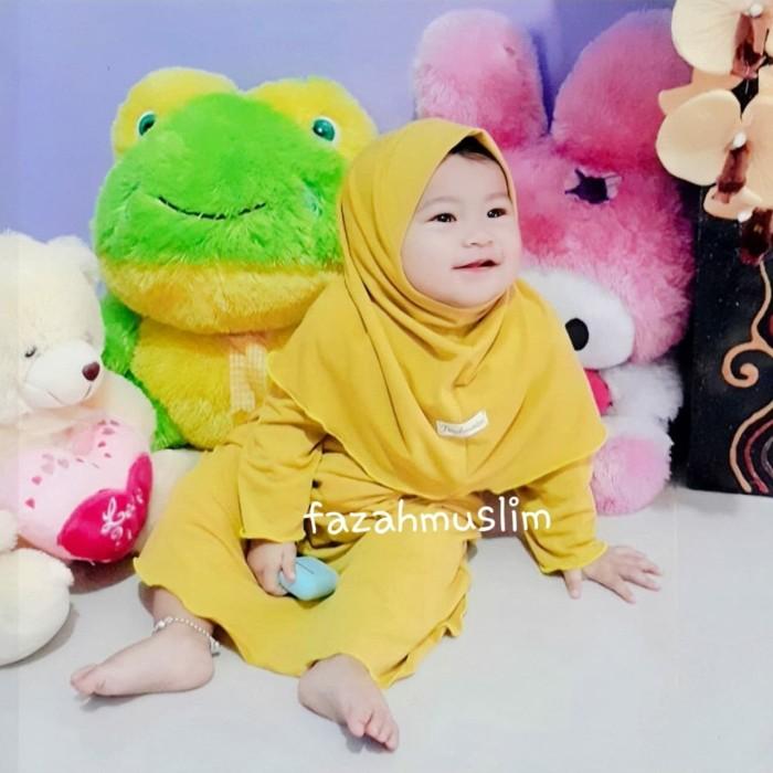Foto Produk gamis bayi perempuan newborn - XS 6-12 BLN, kuning lime dari FAZAHMUSLIM