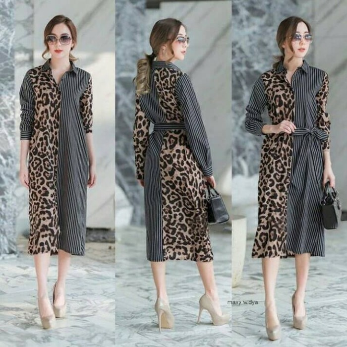 Foto Produk Long Dress Maxi Panjang Semi Formal Loreng Leopard MW dari Nice Pomade