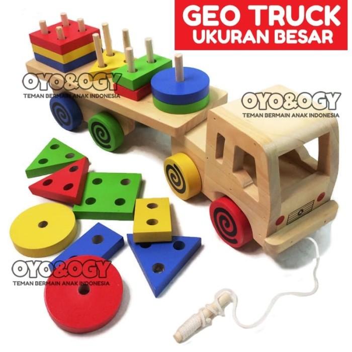 Foto Produk Mainan Edukasi Anak Geo Truck Besar Balok Kayu Shape Truk Bentuk dari oyo-ogy