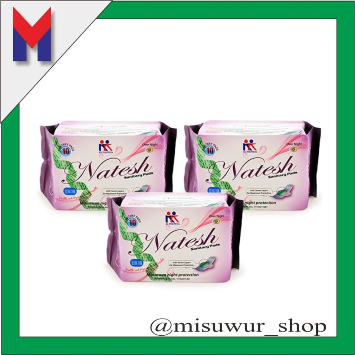 Foto Produk 3 pack Pembalut Herbal Natesh Night Use KK Indonesia ORIGINAL dari Misuwur Shop