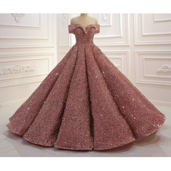 Jual Dress Wedding Party Off Shoulder Ball Gown Glitter Rose Pink Wedding Merah Muda S Kota Tangerang Gaunwedding Com Tokopedia