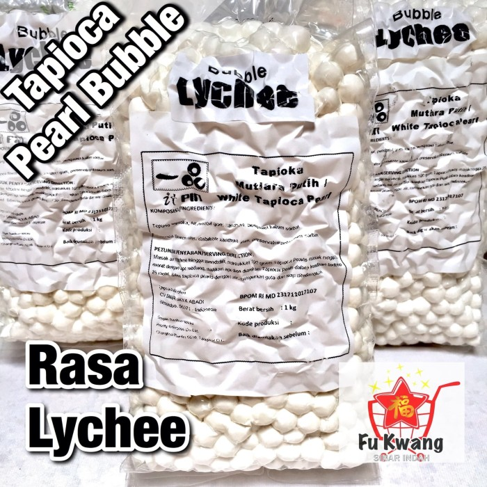 Foto Produk Bubble Tapioka Tapioca Pearl Bubble Mutiara Rasa Lychee Leci 1 kg dari Fu Kwang Mart