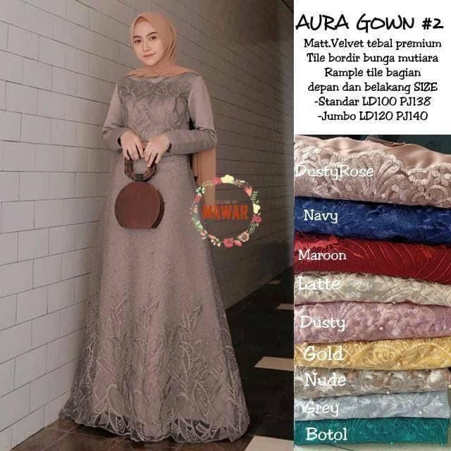 Foto Produk Gamis terbaru brukat jumbo LD #120 AURA GOWN VELVET DRESS BROKAT TILE dari Fleur-shop