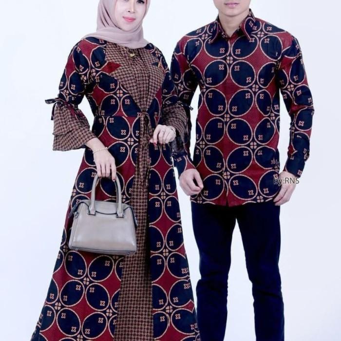 Foto Produk Baju couple dress gamis jazy jumbo ld 120 batik sarimbit kemeja pria dari TABASAMA