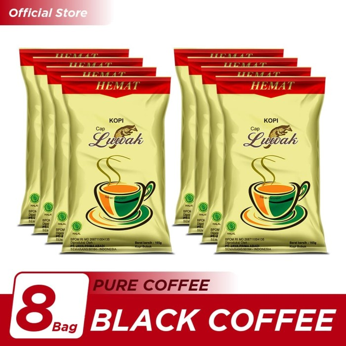 Foto Produk Kopi Luwak Super Hemat Black Coffee Bag 165gr - 8 Pcs dari Kopi Luwak Official