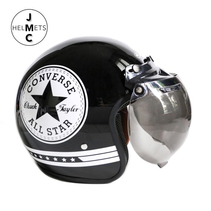 Foto Produk Helm Bogo Retro JMC Motif Converse Putih Hitam SNI - Kaca Bogo Biasa dari JMC Helmet