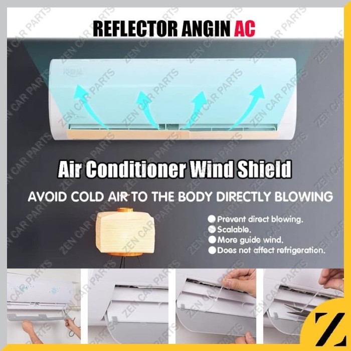 Foto Produk Talang Reflector AC Penghalang Angin Air Screen Cover Universal Adjust dari Zen Car Parts