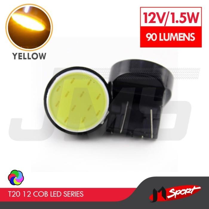 Foto Produk Lampu LED Senja/Wedge Side T20 7443 12 COB LED 1.5W - Yellow dari Jaya Motorsport