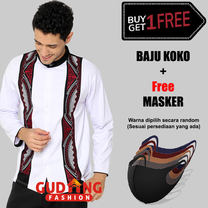 Foto Produk Kemeja Koko Lengan Panjang Bordir Hitam Putih Bordir Free Masker BKML - BKML 68, Free Size dari Gudang Fashion