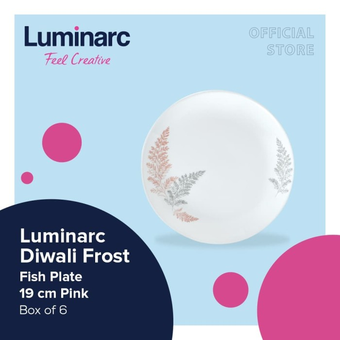 Foto Produk Luminarc Piring Diwali Frost - Flat Plate 19Cm Pink Box of 6 dari Luminarc