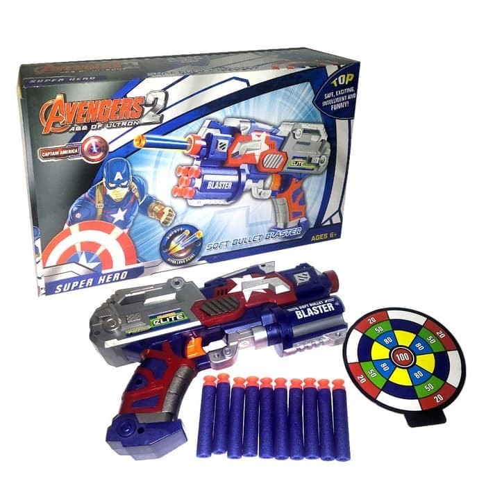 Foto Produk Mainan Soft Bullet Blaster Senapan Pistol EVA Nerf Gun Captain America dari Lumi Toys