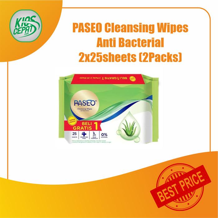 Foto Produk Tissue PASEO Cleansing Wipes Anti Bacterial (2x25Sheets) (TISU BASAH) dari KiosCepat