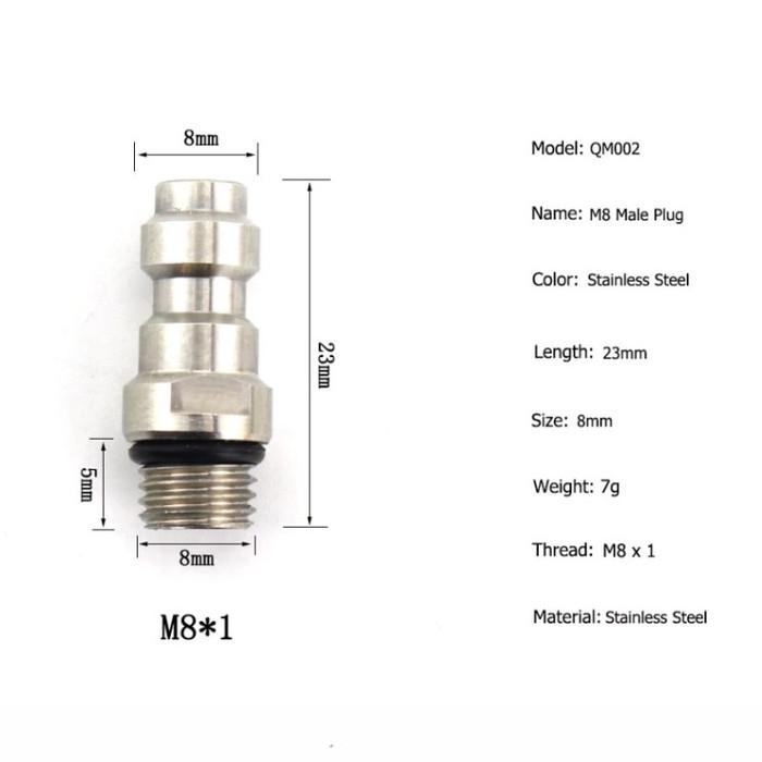 Foto Produk Import KOPLER COUPLER JANTAN DRAT M8 PCP Paintball AFC M8*1 Thread 8mm dari DO OFFICIAL STORE
