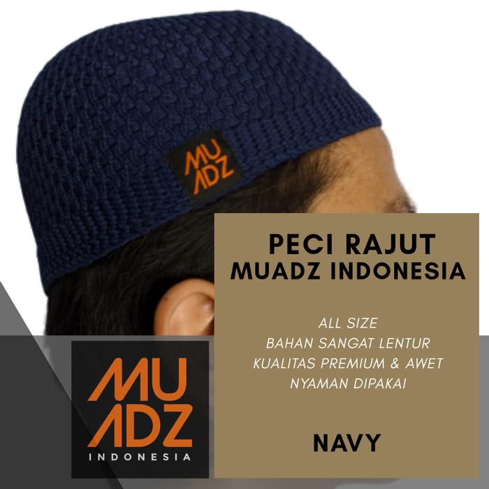 Foto Produk MUADZ Peci Rajut Kopiah Pria - Kualitas Premium - Biru dari HAVI Store
