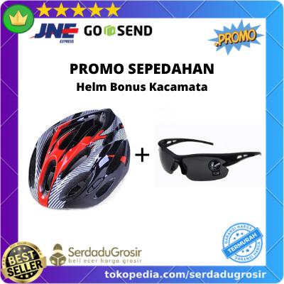Foto Produk PROMO! Paket Aksesoris Helm Sepeda MTB bonus Kacamata Sepeda Keren dari SERDADU GROSIR