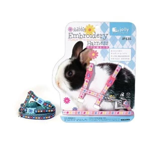 Foto Produk JP131 Jolly Rabbit Embroidery Harness Tali Kelinci Nylon Motif dari Hime petshop