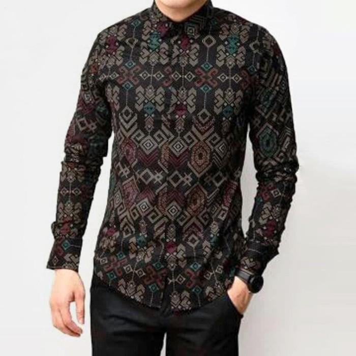 Foto Produk Baju Kemeja Batik Songket Pria Lengan Panjang Hitam Slimfit Casual - Hitam, M dari TBS Shop