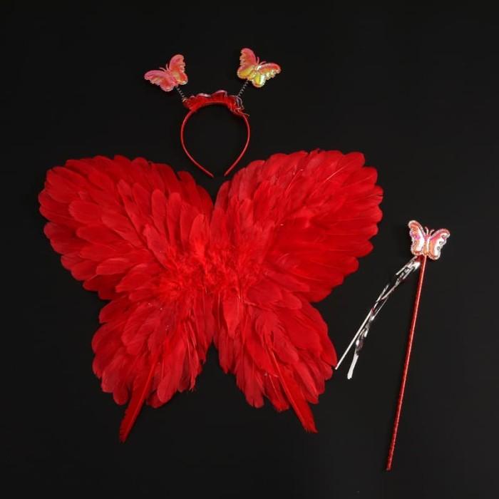 Foto Produk Butterfly angel wing feather wing set 3 in 1 sayap malaikat kupu kupu - Red dari Baby Angeline Shop