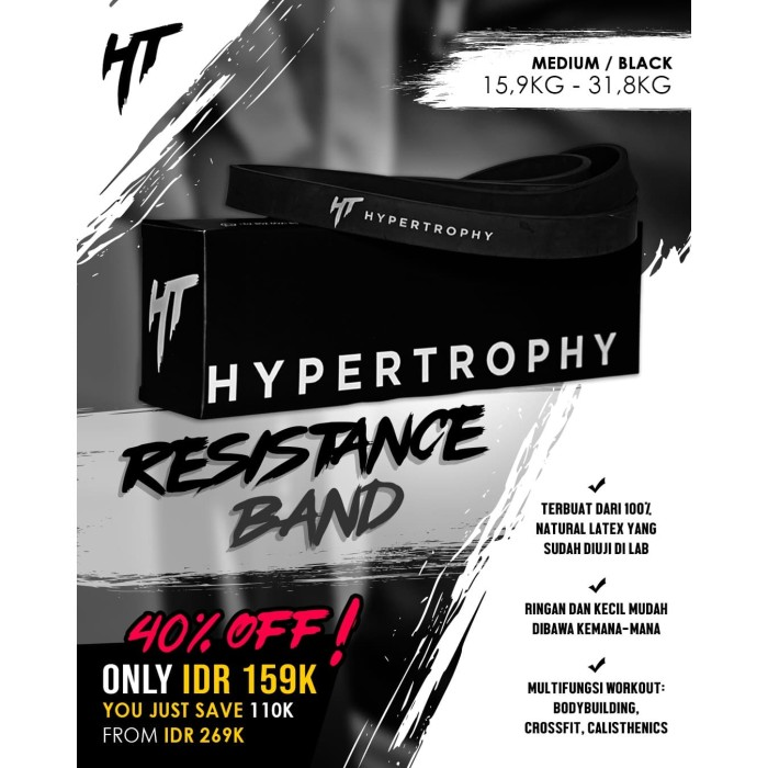 Foto Produk Alat Fitness Resistance / Power Band - (35-70 pounds / 15.9-31.8 kg) dari Hypertrophy
