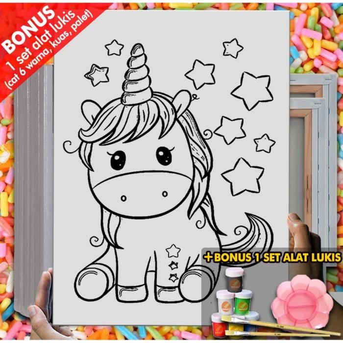 jual kanvas lukis anak cute unicorn star canvas coloring