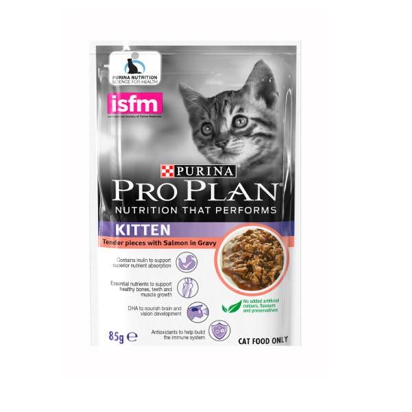 Foto Produk pro plan 85 gr kitten tender pieces with salmon in gravy dari F.J. Pet Shop
