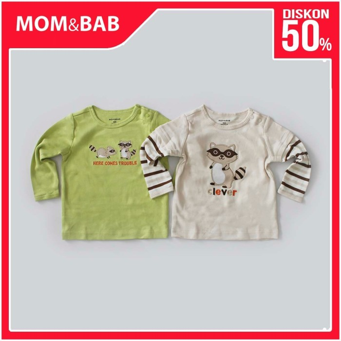 Foto Produk Mom n Bab Long Tee 2in1 - Racoon - 9 Bulan dari Mom n Bab