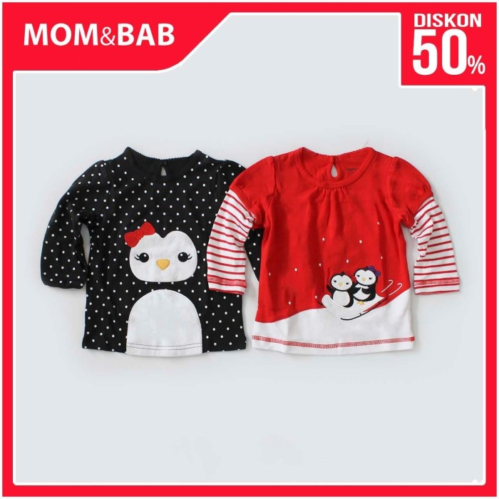 Foto Produk Mom n Bab Long Tee 2in1 Red Black Penguin - 6 Bulan dari Mom n Bab