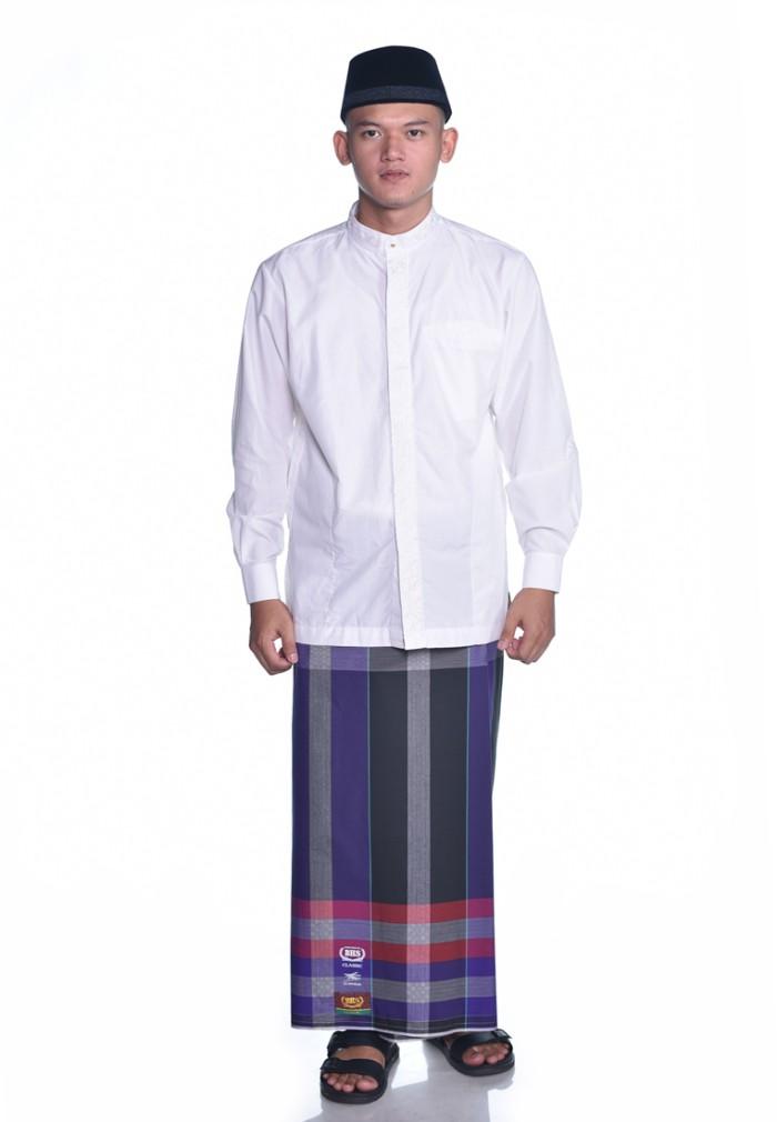 Foto Produk Sarung BHS Classic Kombinasi Salur Mutiara Hitam Ungu dari Sarung BHS Official
