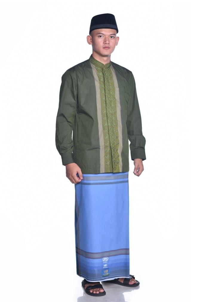 Foto Produk Sarung BHS Gold Classic motif Tumpal Kembang Biru dari Sarung BHS Official