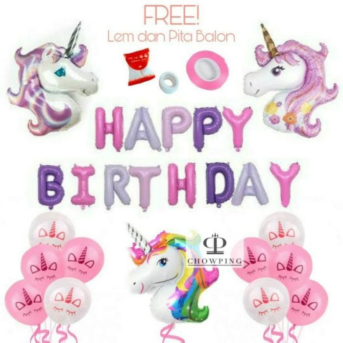 Jual Paket Dekorasi Balon Ulang Tahun Happy Birthday Pegasus Unicorn 02 Jakarta Barat Chowping Store Tokopedia
