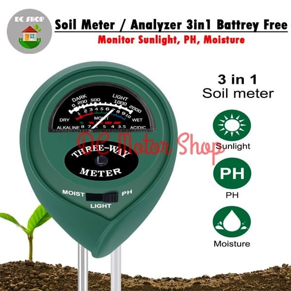 Foto Produk Soil Analyzer 3 in 1 Moisture PH Light Meter Tanah Tester Alat 3in1 dari DC Motor Shop