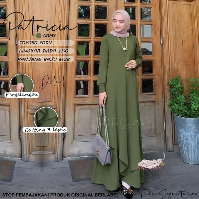 Foto Produk Baju gamis wanita muslim terbaru, gamis lebaran cantik - Patricia dari mochie shop's