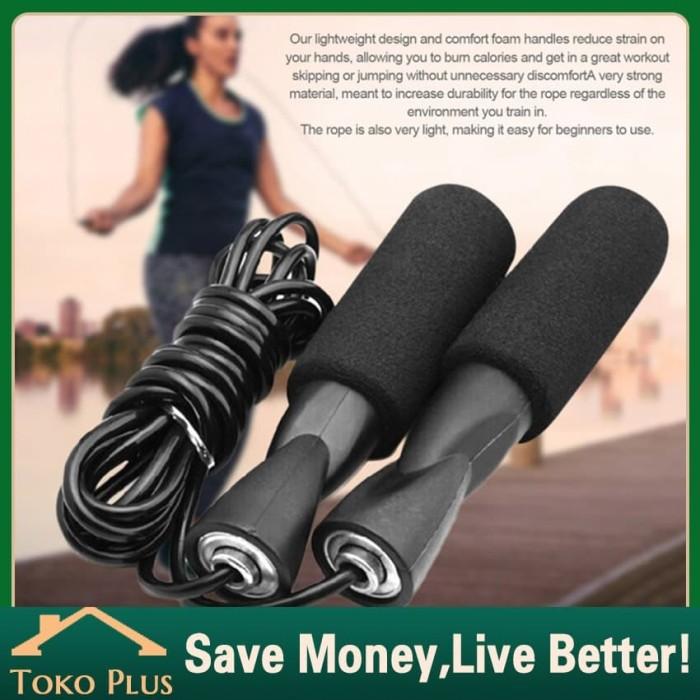 Foto Produk 3M Tali Skipping Panjang Bisa Diatur Jump Rope Skipping Rope Foam - Hitam dari Toko Plus ID