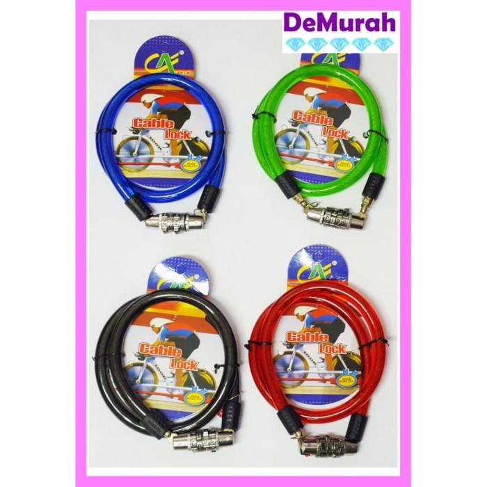 Foto Produk Gembok Kawat Nomor Gembok Helm Cable Lock 0497 - Merah dari Demurah Dot Com