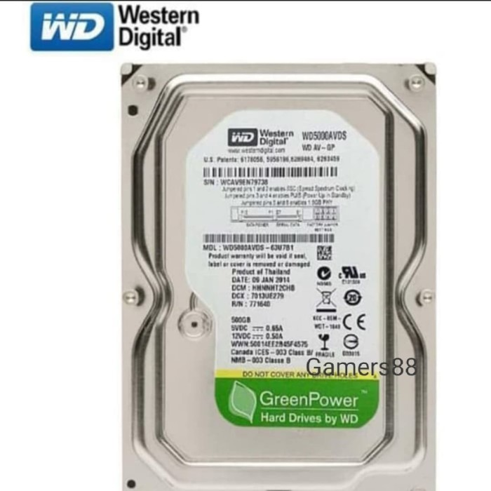 Foto Produk Hardisk 500GB SATA WDC GREEN HDD Internal PC dan CCTV dari Gamers88