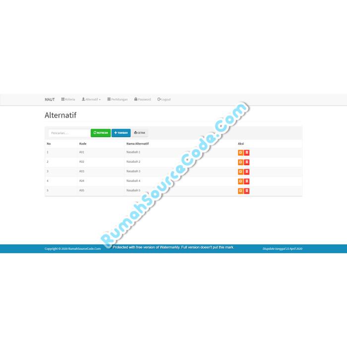 Foto Produk Source Code SPK Metode MAUT PHP dari Rumah Source Code
