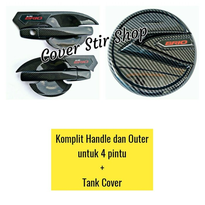 Foto Produk PAKET ALL NEW BRIO LENGKAP HANDLE OUTER & TANK COVER LUXURY CARBON dari Cover Stir Shop
