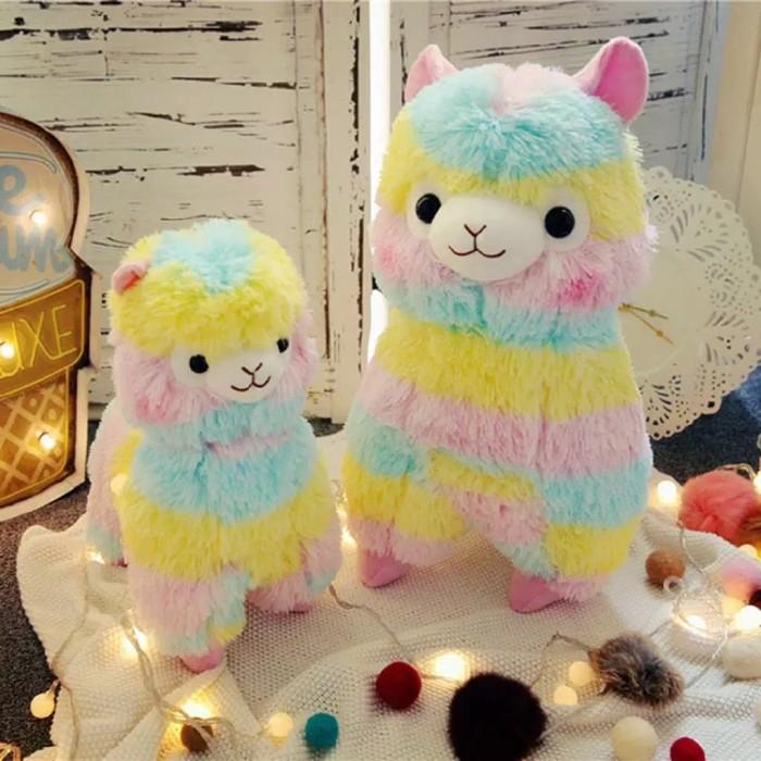Foto Produk Boneka rainbow alpaca ilama import bulu lembut 18 n 45cm - Merah 18cm dari cutePeppa