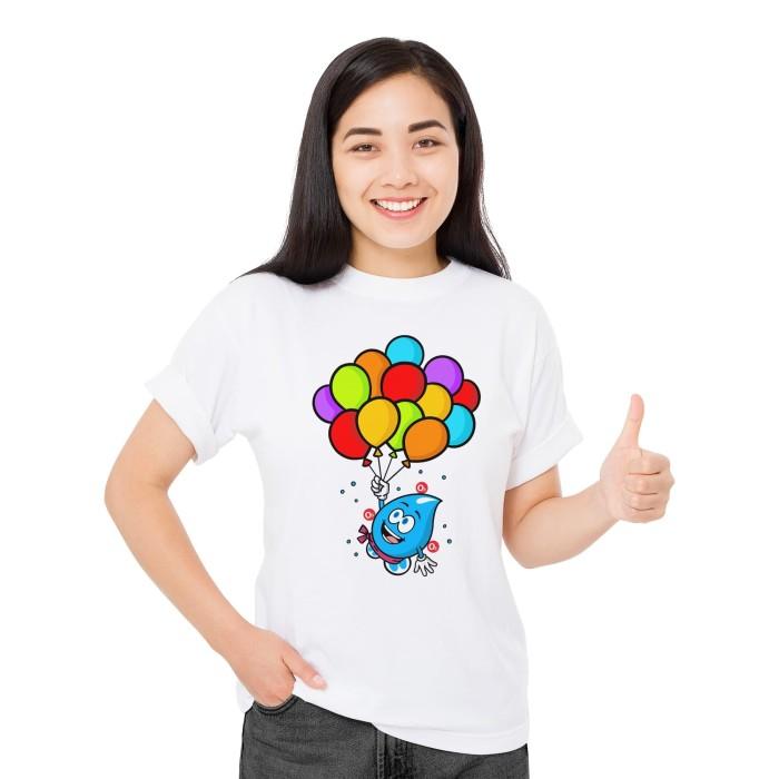 Foto Produk Baju Kaos Atasan T-Shirt Cewek Distro Fashion Wanita Balloon - Putih, XS dari Air Minum Biru