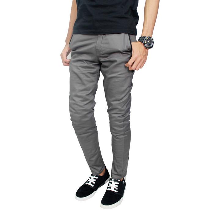 Foto Produk Celana Chino Panjang Polos Pria Chino Krem CLN 1106 - Abu-abu, 28 dari Gudang Fashion