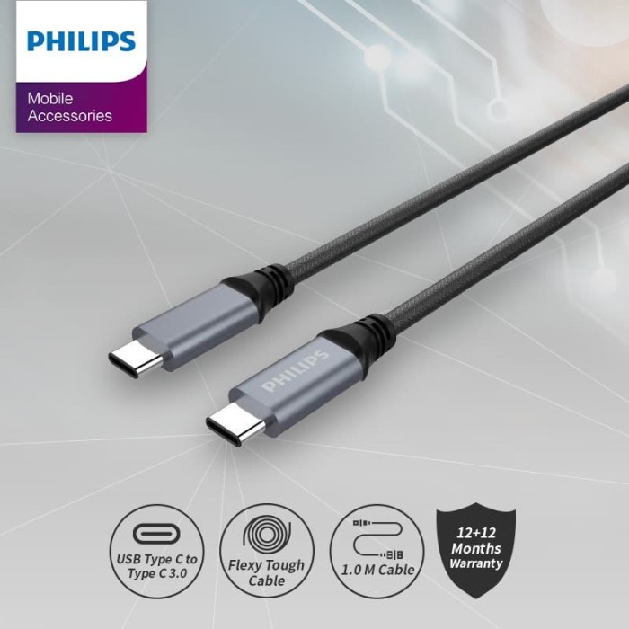 Foto Produk Philips USB-C to USB-C Cable DLC-4530 (Bahan nylon, anti putus) dari Philips Mobile Acc